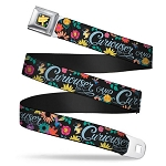 Disney Designer Seatbelt Belt - Curiouser & Curiouser - Alice in Wonderland Flowers