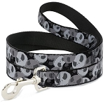 Disney Designer Pet Leash - Jack Skellington Collage of Faces - Monochrome