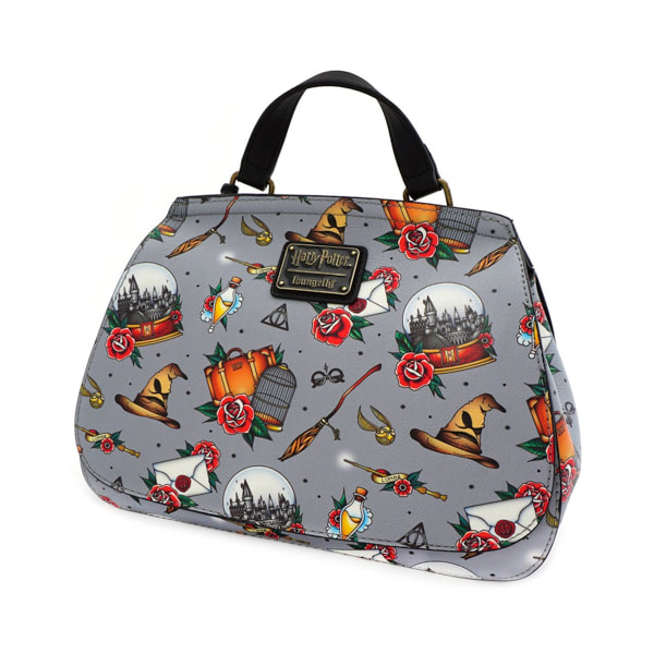 Universal Loungefly Crossbody Satchel Bag - Harry Potter Relics Tattoo Print
