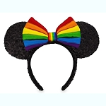 Disney Minnie Headband Ears - Rainbow Collection - Black Sequins w/ Bow