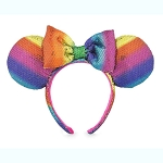 Disney Minnie Headband Ears - Rainbow Collection - Sequined w/ Bow