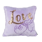 Disney Pillow - Minnie Mouse - LOVE - Purple w/ Sequins