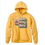 Disney Adult Hoodie - Retro Walt Disney World Logo - YELLOW