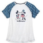 Disney Women's Shirt - Mickey & Minnie Americana - WDW Logo