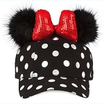 Disney Baseball Cap - Minnie Mouse Polka Dot Pom Pom Ears - Black