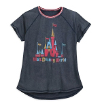 Disney Women's Raglan Shirt - Fantasyland Castle w/ Walt Disney World Logo - Vintage Look