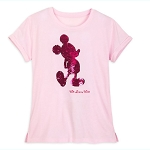 Disney Women's Shirt - Mickey Mouse - Reversible Sequin - Imagination Pink