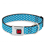 Disney Designer Pet Collar - Minnie Mouse Red Bow And Blue Dots