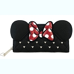 Disney Loungefly Wallet - Minnie Mouse Ears & Bow - Quilted w/ Mickey Icon Studs