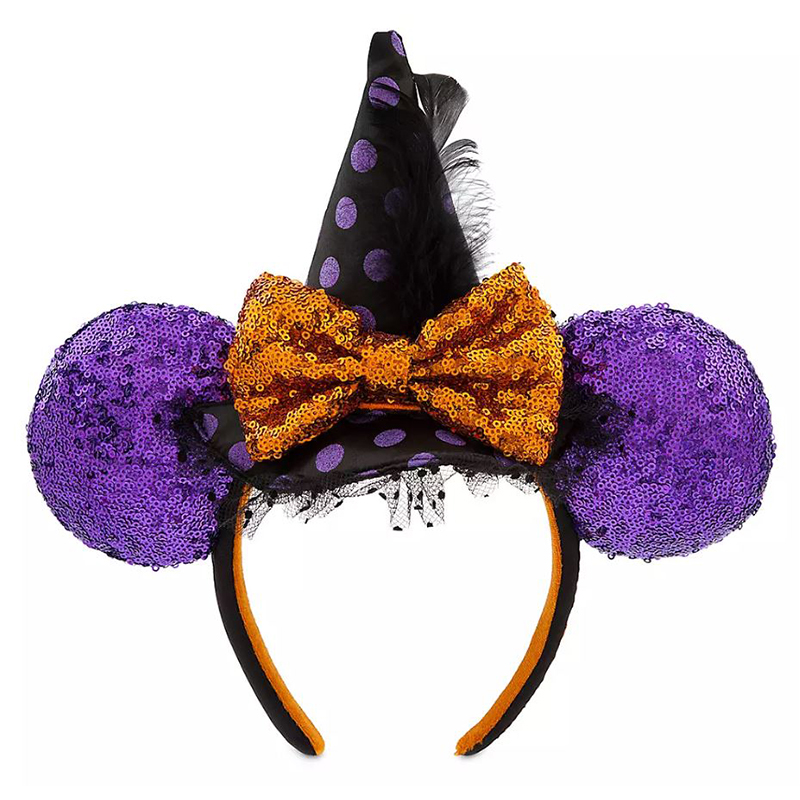 My first Disney Trip,Black Ears with Yellow or Purple Sequins Bow,One Size Ears,Minnie headband,Minnie Outfit,Black Minnie headband