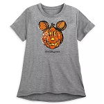 Disney Womens Shirt - Pumpkin Mickey Mouse - Reversible Sequin