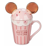 Disney Coffee Cup Mug - Minnie Cupcake w/ Lid - Epcot Food & Wine Festival 2019 - Rose Gold