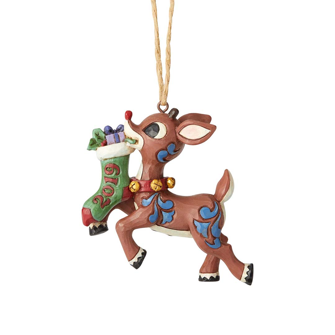 Rudolph by Jim Shore Ornament - 2019 Rudolph Holding Stocking