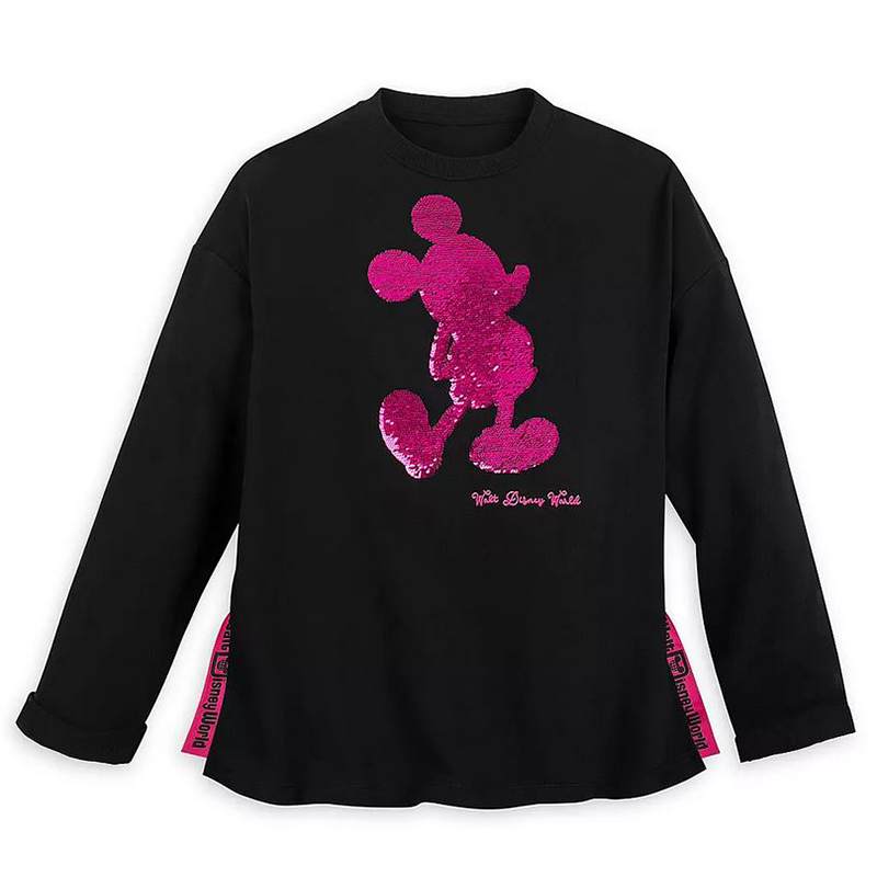 Disney Women's Shirt - Mickey Mouse Reversible Sequin - Magic Mirror Metallic to Imagination Pink