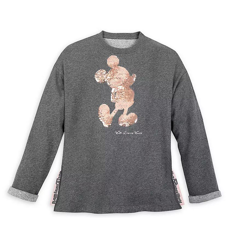 Disney Women's Shirt - Mickey Mouse Reversible Sequin - Briar Rose Gold
