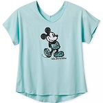 Disney Women's Shirt - Mickey Mouse - Arendelle Aqua - Sequined