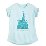 Disney Girls Shirt - Walt Disney World Castle - Reversible Sequin - Arendelle Aqua