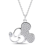 Disney Crislu Necklace - Mickey Mouse Profile
