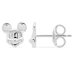 Disney Crislu Earrings - Mickey Mouse Face - Platinum