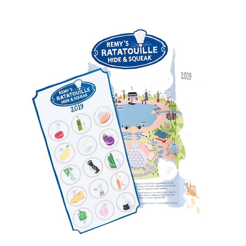 Disney Map, Booklet and Stickers Set - Remy's Ratatouille Hide & Squeak - 2019