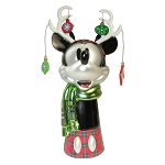 Disney Blown Glass Tree Topper - Mickey Mouse Wearing Reindeer Antlers