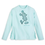 Disney Women's Shirt - Mickey Mouse - Arendelle Aqua - Reversible Sequin - Sweatshirt