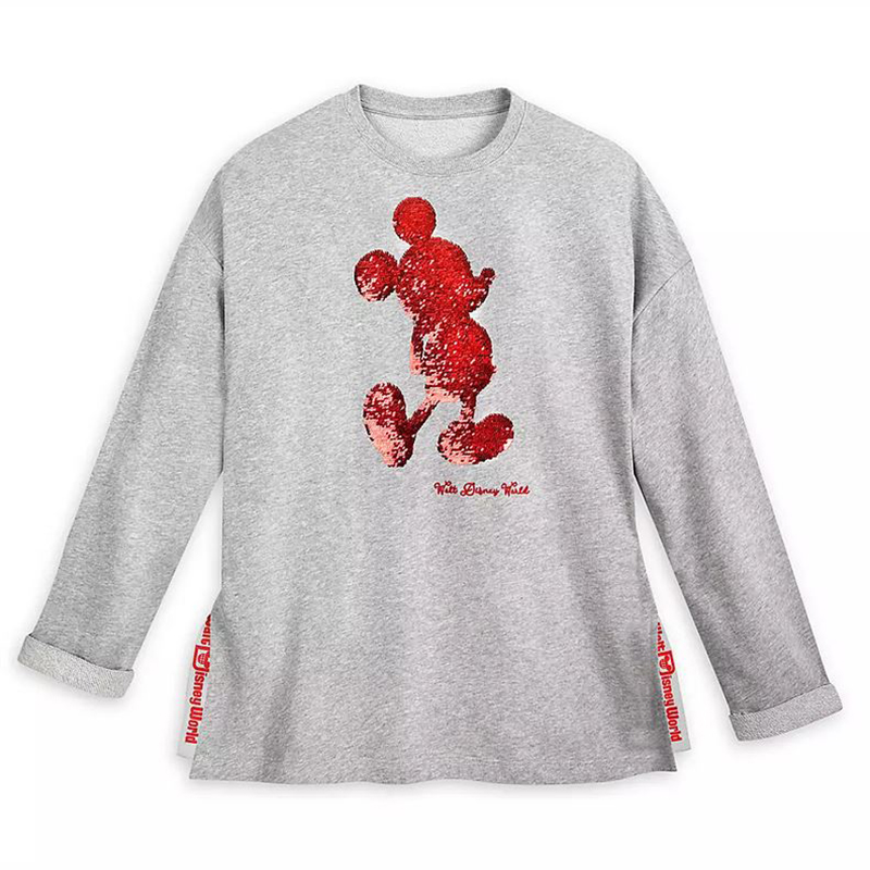 Disney Women's Shirt - Mickey Mouse Red & Silver Reversible Sequin Sweatshirt
