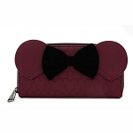 Disney Loungefly Bag - Minnie Mouse Maroon Quilted Zip Around Wallet