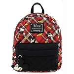 Disney Loungefly Bag - Mickey Mouse Red Plaid Nylon Pocket Mini Backpack