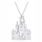 Disney Crislu Necklace - Walt Disney & Mickey - Fantasyland Castle - Platinum