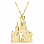 Disney Crislu Necklace - Walt Disney & Mickey - Fantasyland Castle - Gold