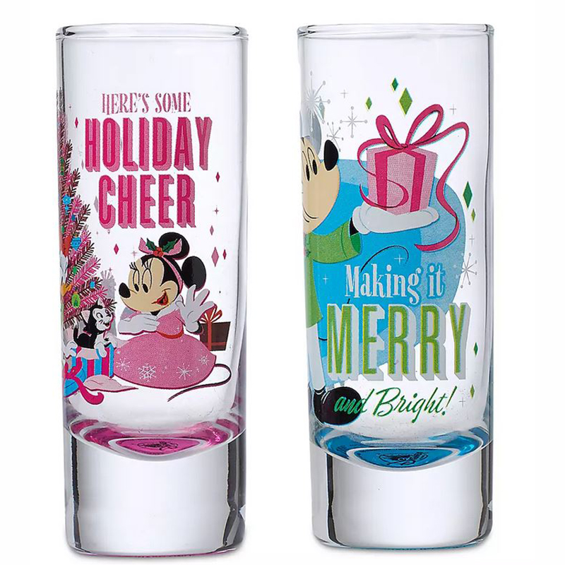 2-Piece Set Disney Mickey /& Minnie Mouse His /& Hers Tall Shot Glasses