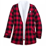 Disney Women's Sherpa Jacket - Mickey Mouse Holiday Plaid