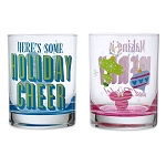 Disney Short Drinking Glass Set - Retro Mickey Icon Ornaments - Holiday Cheer