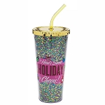 Disney Tumbler w/ Straw - Mickey Mouse Icon - Here's Some Holiday Cheers - Retro Tinsil