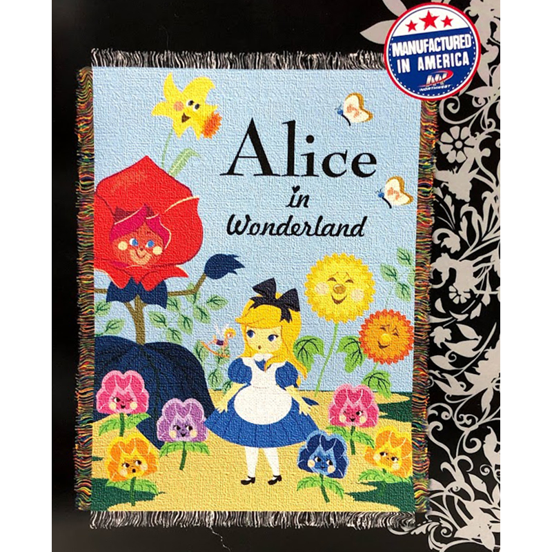 Disney Woven Tapestry Throw - Alice In Wonderland w/ Flowers