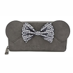 Disney Loungefly Bag - Disney Grey - Minnie Sequin Bow - Zip Around Wallet