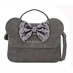 Disney Loungefly Bag - Disney Grey - Minnie Sequin Bow - Crossbody Bag