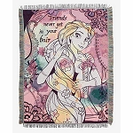 Disney Woven Tapestry Throw - Rapunzel - Friends Never Get In Your Hair