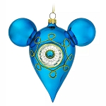 Disney Ornament - Retro Mickey Mouse Icon Glass Drop Ornament - Blue