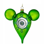 Disney Ornament - Retro Mickey Mouse Icon Glass Drop Ornament - Green
