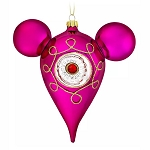 Disney Ornament - Retro Mickey Mouse Icon Glass Drop Ornament - Pink