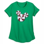 Disney Women's Shirt - Mickey Mouse Peppermint - Sequined