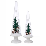 Disney Holiday Domes Set - Mickey Mouse and Friends Holiday Pedestal Trees
