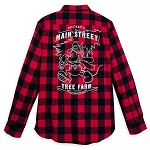 Disney Mens Shirt - Mickey Mouse Holiday Flannel - Main Street Tree Farm