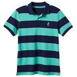 Disney Men's Shirt - Mickey Mouse - Pique Cotton Polo - Striped