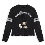 Disney Women's Pullover Shirt - Mickey Mouse Football Jersey - Black