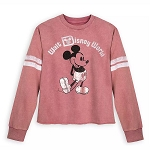 Disney Women's Pullover Shirt - Mickey Mouse Football Jersey - Rose Gold