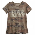 Disney Women's  Shirt - Star Wars Logo Camouflage T-Shirt