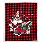 Disney Fleece Throw - Mickey Mouse and Friends Holiday Plaid
